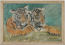 "Otto DILL - Pintura - ""Tiger couple"" oil painting, 1940/50s"