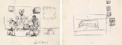 Salvador DALI - Drawing-Watercolor - Études pour les tableaux : La Cène et Galatée en formation