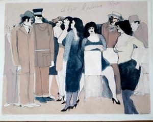 """David SCHNEUER - Grabado - Cafe """"Chez Madame Rose"""""""