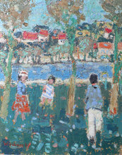 Yves WACHEUX - Painting - Children in a Park