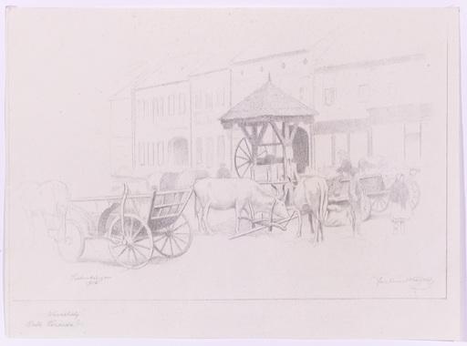 """Ferdinand Karl GOLD - Zeichnung Aquarell - """"Market in Siebenbuergen"""", 1916"""