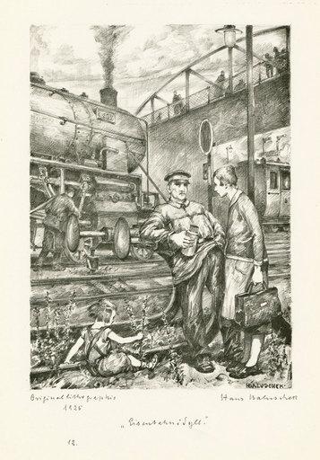 Hans BALUSCHEK - 版画 - Eisenbahnidyll