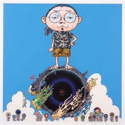 Takashi MURAKAMI - Grabado - Standing on the bridge linking space and time