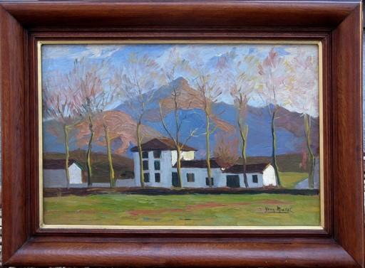 Yvon MASSE - Painting - VIEILLES FERMES AU PIED DE LA RHUNE (PAYS BASQUE)