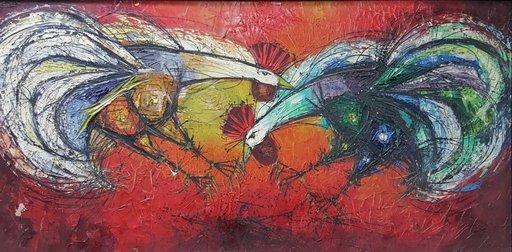 Bruno ZUPAN - Peinture - Cock Fight