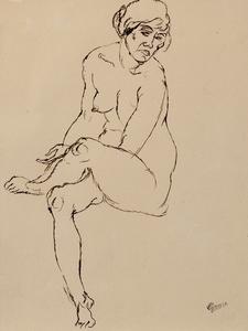 George GROSZ - Dibujo Acuarela - Lady Hamilton