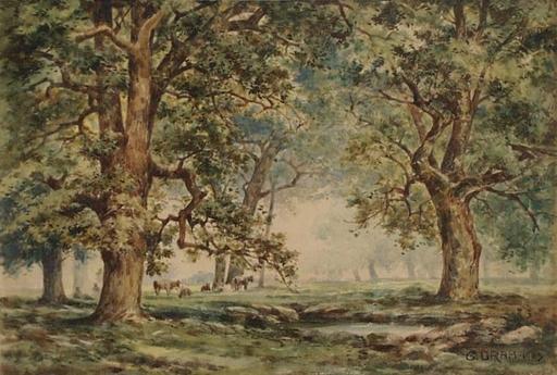 """George DRAH - Disegno Acquarello - """"Grazing Herd in Grove"""", Watercolor"""