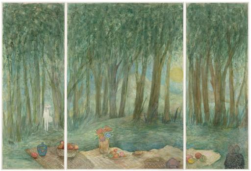 "Elie ABRAHAMI - Disegno Acquarello - Meal on The Grass ""Triptique"""
