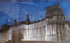 CHRISTO - Grabado - Wrapped Reichstag, Project for Berlin