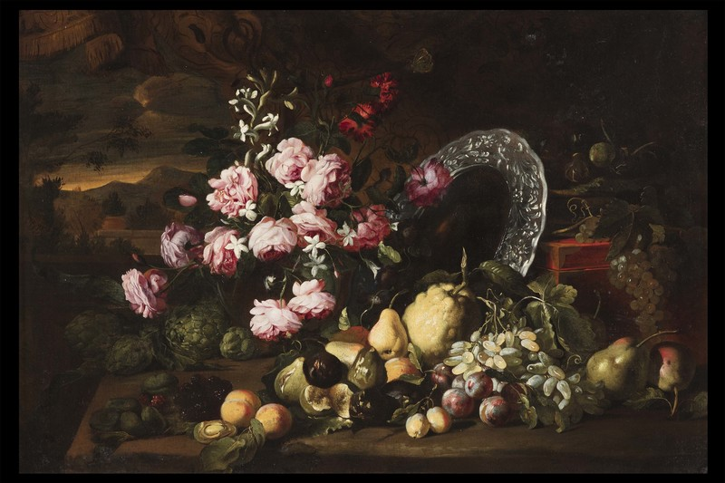 Abraham BRUEGHEL - Painting - Still life with fruits and flowers