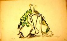 Mikhail LARIONOV - Drawing-Watercolor - Cubistic still life