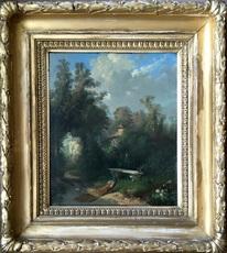 John Appleton BROWN - Painting - Peacock landscape II - Circa 1866-67 or 1874