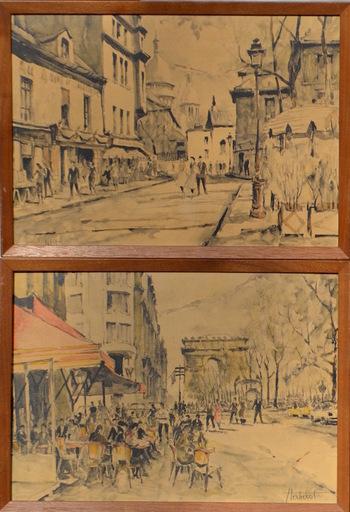 Franz HERBELOT - Dibujo Acuarela
