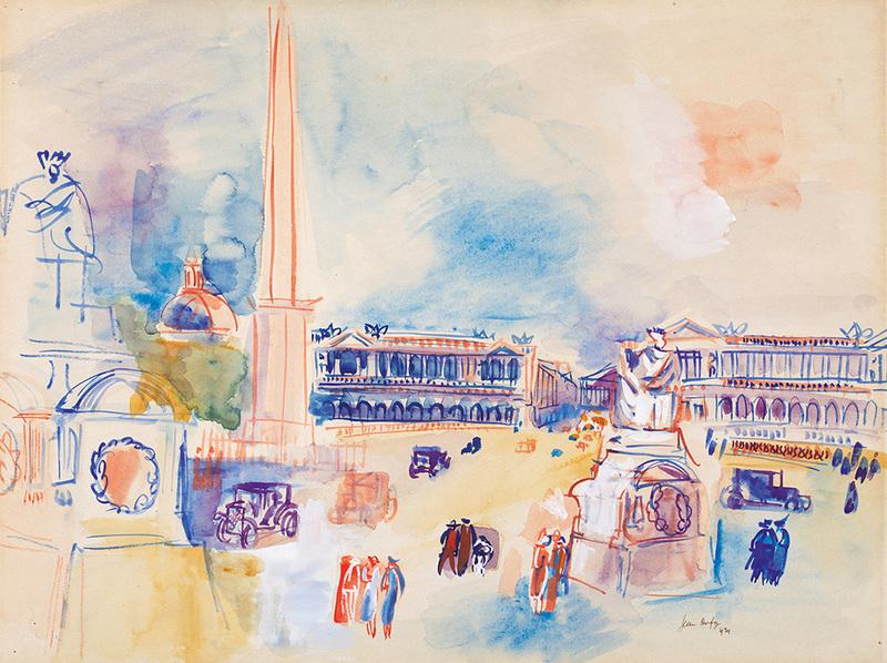 Jean DUFY - Dessin-Aquarelle - Place de la Concorde
