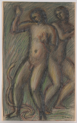 "Adolf CURRY - Drawing-Watercolor - ""Adam and Eve"" by Adolf Curry, ca 1920"
