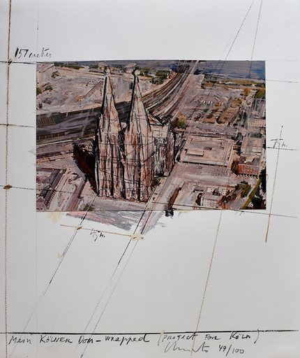 CHRISTO - Grabado - Mein Kölner Dom Wrapped, Project for Köln, from: Five Urban