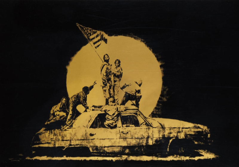 BANKSY - Stampa Multiplo - Gold Flag