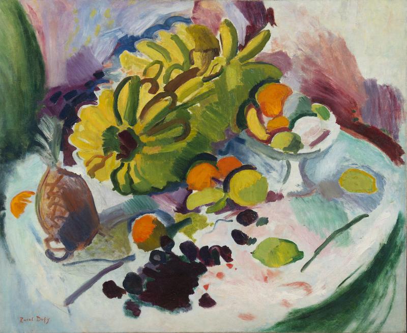 Raoul DUFY - Gemälde - Compotier, bananes et fruits sur un entablement