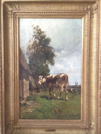 Émile Charles DAMERON - Pintura - Kuh vor Gehöft