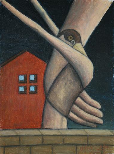 Scott VALENZUELA - Dibujo Acuarela - A bird in the hand