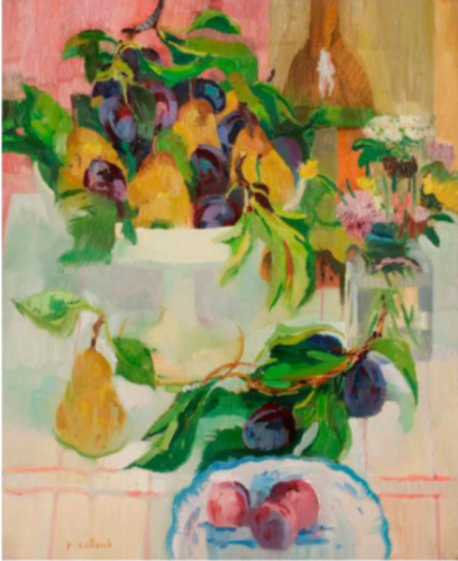 Paul COLLOMB - Painting - Prunes et poires au compotier