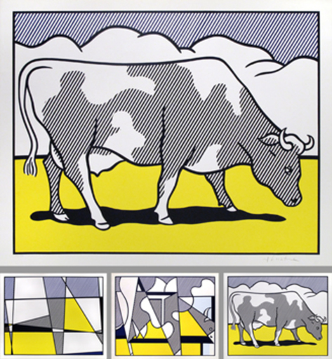 Roy LICHTENSTEIN - Estampe-Multiple - Cow going abstract  (Trypich)