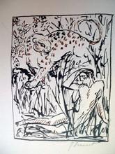 Raphaël DROUART - Dibujo Acuarela - LA PANTHERE