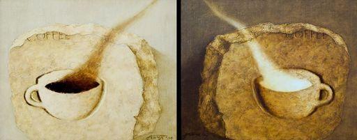 Tatjana PALCUKA - Painting - Morning- Eveniong coffe (diptyth)    (Cat N° 5484)