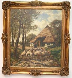 Karl MOHR - Gemälde - Schafherde mit Schäfer