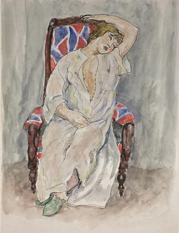 Pierre DEVAL - Drawing-Watercolor - Gertrud au fauteuil Dufy