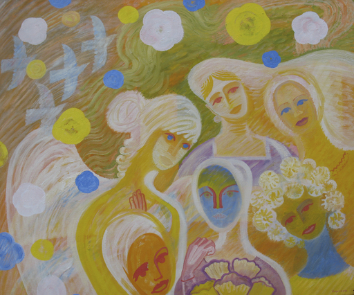 Sergey BORISOV - Gemälde - Bouquet, seria Flowers and Love, abstract portraits women