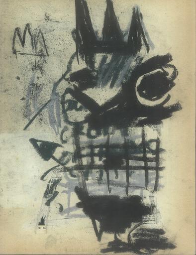 Jean-Michel BASQUIAT - Dibujo Acuarela - MONSTERS (double sided)