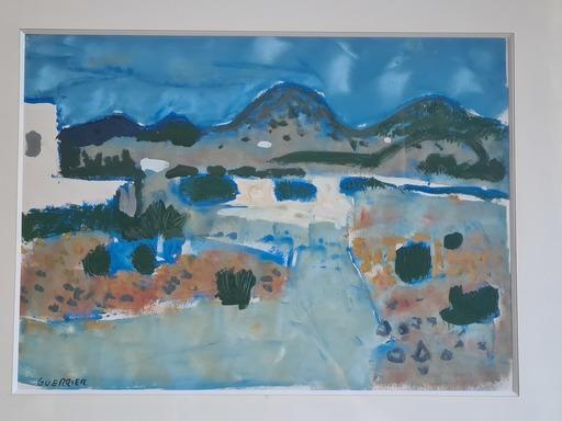Raymond GUERRIER - Drawing-Watercolor - Vue des Alpilles depuis Eygallières