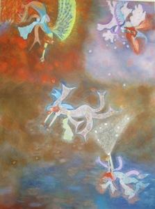 ATCHAMA - Painting - les 4 fées Eau-Air-Terre-Feu