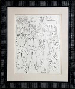 乔治·葛罗兹 - 水彩作品 - Man and Woman with Lamp (Erotic)