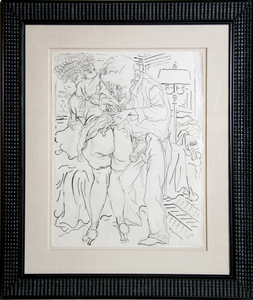 George GROSZ - Dessin-Aquarelle - Man and Woman with Lamp (Erotic)