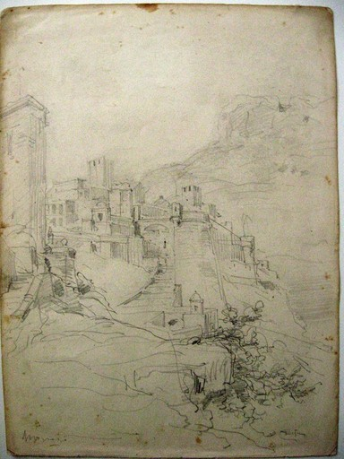 Emanuele COSTA - Dessin-Aquarelle - Monaco le chateau