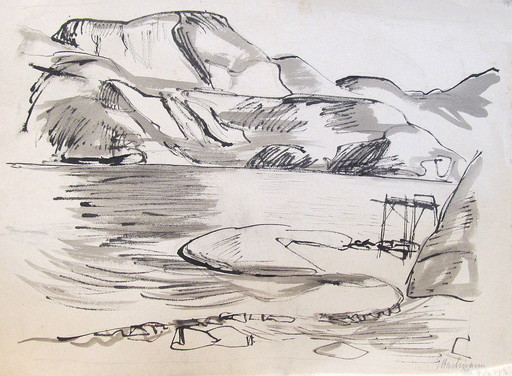 Erich HARTMANN - Dessin-Aquarelle - #19923: Norwegen - am Fjord.