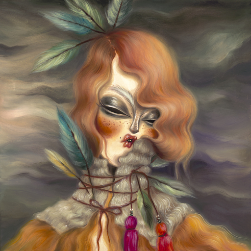 MISS VAN - Peinture - Flaming Hair Portrait