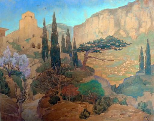 Nikolai Dmitrievich VASSILIEV - Dibujo Acuarela - View in Crimea,