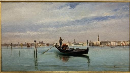 Giovanni LAVEZZARI - Pittura - Gondola nel bacino di San Marco a Venezia