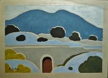 Alfred LESBROS - Dibujo Acuarela - Vieux pont en Provence