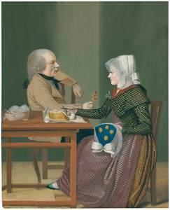 Johann Friedrich L. REINHOLD - Drawing-Watercolor - Ein Mann und eine Frau an einem Tisch sitzend.