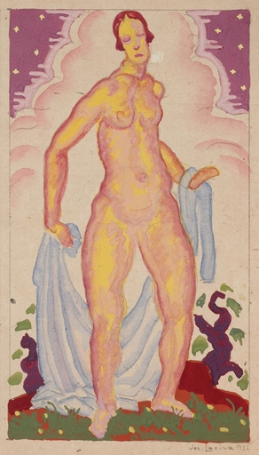 "Josef LACINA - Dibujo Acuarela - ""Bather"", 1926, gouache"