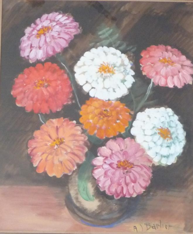 André BARLIER - Disegno Acquarello - bouquet de fleurs