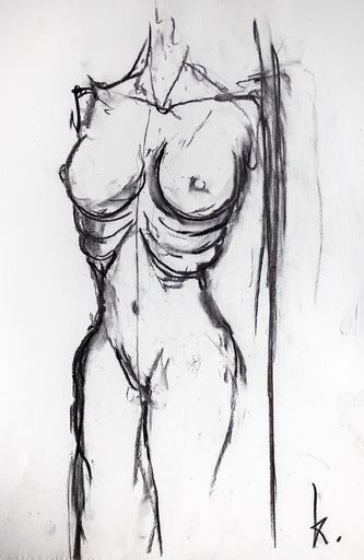 Guillaume KALT - Dibujo Acuarela - Buste de femme    (Cat N° 6152)
