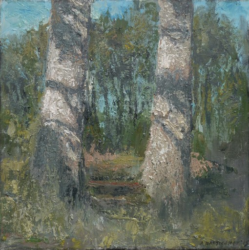 Albert HADJIGANEV - Painting - Forest Bench