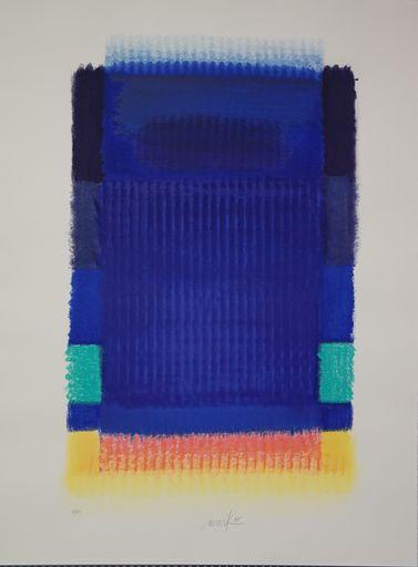 海因茨·马克 - 版画 - Blaues Feld mit Rosa