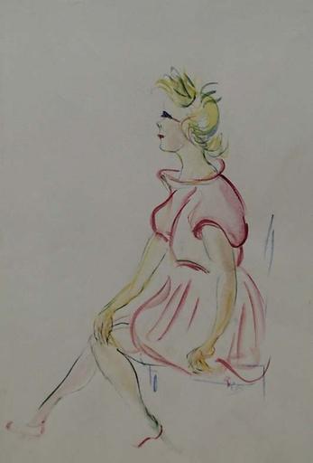 "Rudolf Raimund BALLABENE - Dibujo Acuarela - ""Study of a Girl"" by Rudolf Raimund Ballabene,  ca 1940"