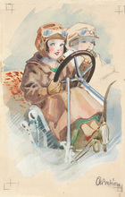 "Anton BABION - Drawing-Watercolor - ""Little motorists"" watercolor, ca. 1920"
